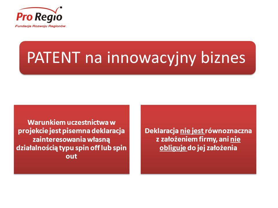 Projekt PATENT na innowacyjny biznes to cykl: spotkań konsultacyjnych warsztatów szkoleń (aż 18 dni szkoleniowych na dwóch poziomach zaawansowania!)