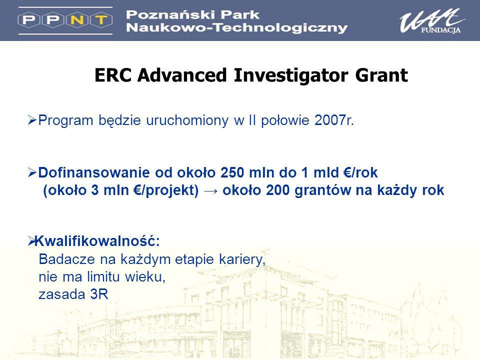 ERC Advanced Investigator Grant Program będzie uruchomiony w II połowie 2007r. Dofinansowanie od około 250 mln do 1 mld /rok (około 3 mln /projekt) ok