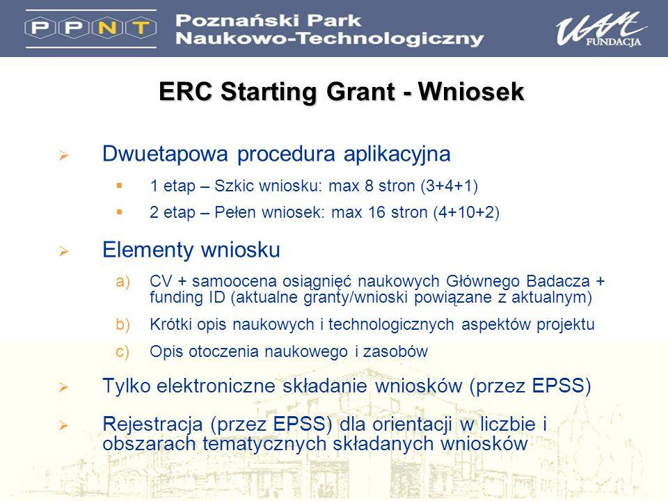 Dwuetapowa procedura aplikacyjna 1 etap – Szkic wniosku: max 8 stron (3+4+1) 2 etap – Pełen wniosek: max 16 stron (4+10+2) Elementy wniosku a)CV + samoocena osiągnięć naukowych Głównego Badacza + funding ID (aktualne granty/wnioski powiązane z aktualnym) b)Krótki opis naukowych i technologicznych aspektów projektu c)Opis otoczenia naukowego i zasobów Tylko elektroniczne składanie wniosków (przez EPSS) Rejestracja (przez EPSS) dla orientacji w liczbie i obszarach tematycznych składanych wniosków ERC Starting Grant - Wniosek