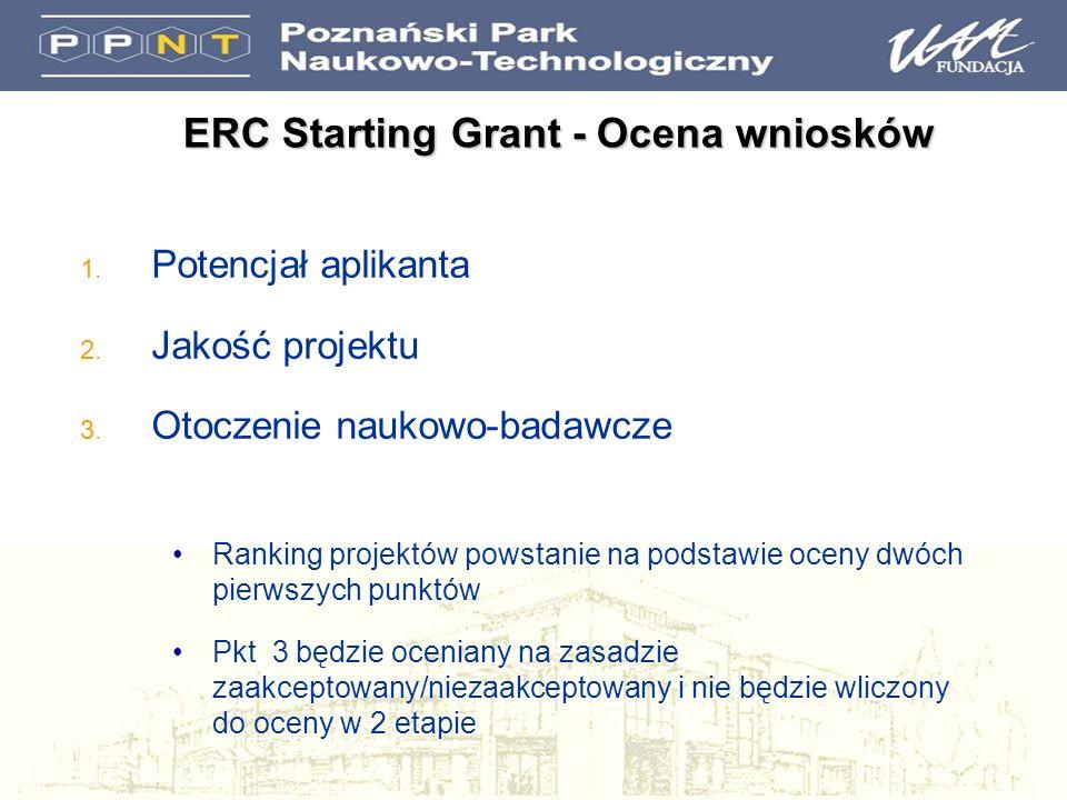 1. Potencjał aplikanta 2. Jakość projektu 3. Otoczenie naukowo-badawcze Ranking projektów powstanie na podstawie oceny dwóch pierwszych punktów Pkt 3