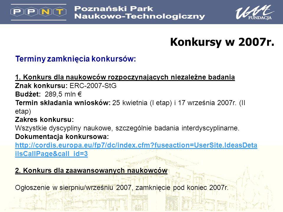 Terminy zamknięcia konkursów: 1. Konkurs dla naukowców rozpoczynających niezależne badania Znak konkursu: ERC-2007-StG Budżet: 289,5 mln Termin składa