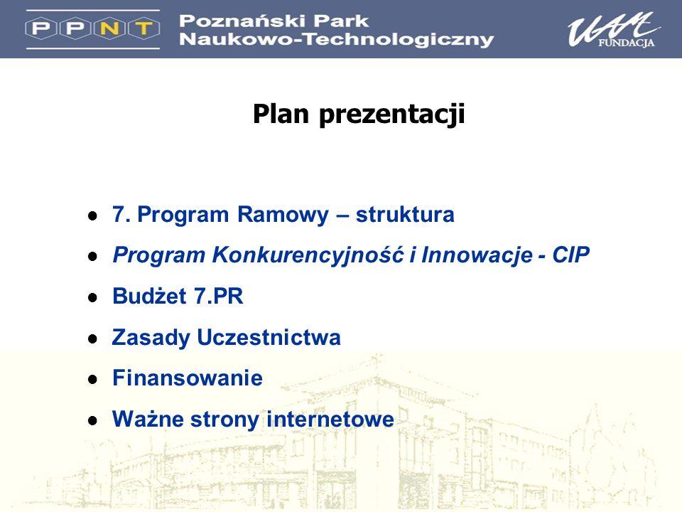 Plan prezentacji l 7. Program Ramowy – struktura l Program Konkurencyjność i Innowacje - CIP l Budżet 7.PR l Zasady Uczestnictwa l Finansowanie l Ważn