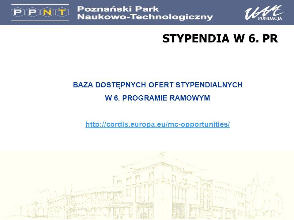 STYPENDIA W 6. PR BAZA DOSTĘPNYCH OFERT STYPENDIALNYCH W 6. PROGRAMIE RAMOWYM http://cordis.europa.eu/mc-opportunities/