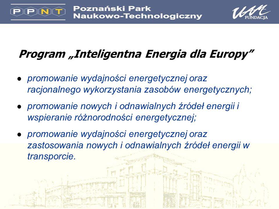 Program Inteligentna Energia dla Europy l promowanie wydajności energetycznej oraz racjonalnego wykorzystania zasobów energetycznych; l promowanie now
