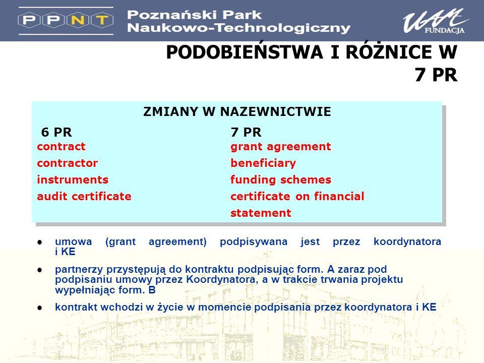 PODOBIEŃSTWA I RÓŻNICE W 7 PR l umowa (grant agreement) podpisywana jest przez koordynatora i KE l partnerzy przystępują do kontraktu podpisując form.