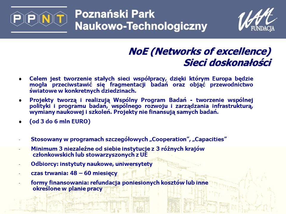 NoE (Networks of excellence) Sieci doskonałości l Celem jest tworzenie stałych sieci współpracy, dzięki którym Europa będzie mogła przeciwstawić się fragmentacji badań oraz objąć przewodnictwo światowe w konkretnych dziedzinach.