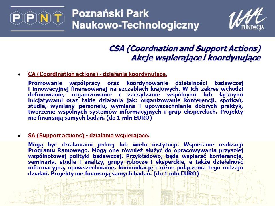 CSA (Coordnation and Support Actions) Akcje wspierające i koordynujące l CA (Coordination actions) - działania koordynujące. Promowanie współpracy ora