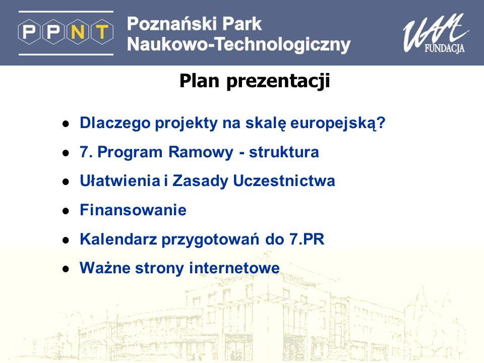 Plan prezentacji l Dlaczego projekty na skalę europejską? l 7. Program Ramowy - struktura l Ułatwienia i Zasady Uczestnictwa l Finansowanie l Kalendar