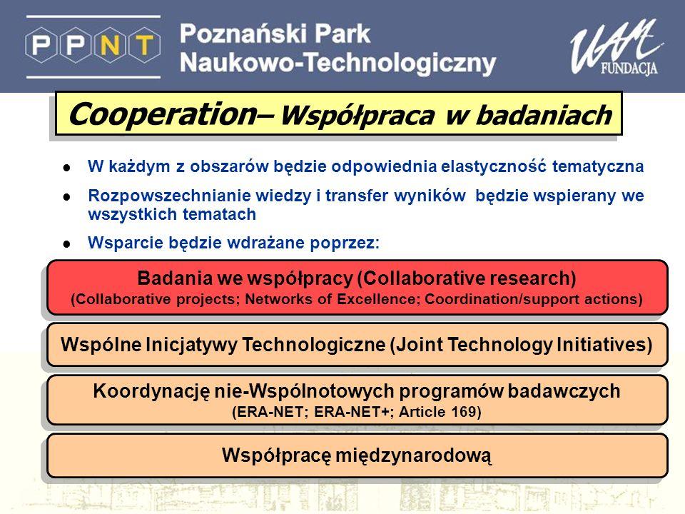 CP (Collaborative projects) Projekty współpracy l IP (Large-scale integrating projects) duże, szeroko zakrojone, ambitne projekty realizowane przez wielu partnerów.