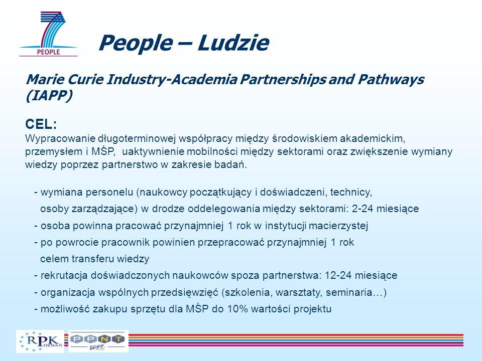 People – Ludzie Marie Curie Industry-Academia Partnerships and Pathways (IAPP) CEL: Wypracowanie długoterminowej współpracy między środowiskiem akadem