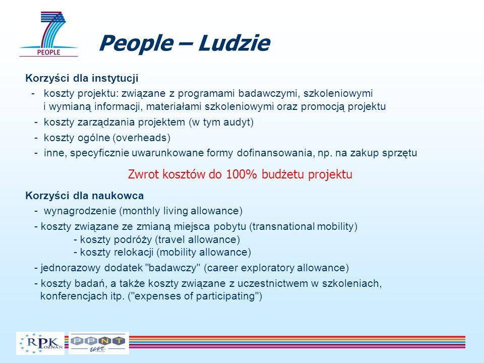 People – Ludzie Korzyści dla instytucji - koszty projektu: związane z programami badawczymi, szkoleniowymi i wymianą informacji, materiałami szkolenio