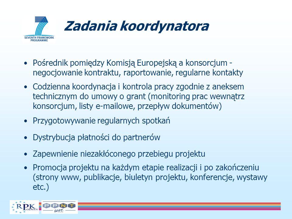 Pośrednik pomiędzy Komisją Europejską a konsorcjum - negocjowanie kontraktu, raportowanie, regularne kontakty Codzienna koordynacja i kontrola pracy z