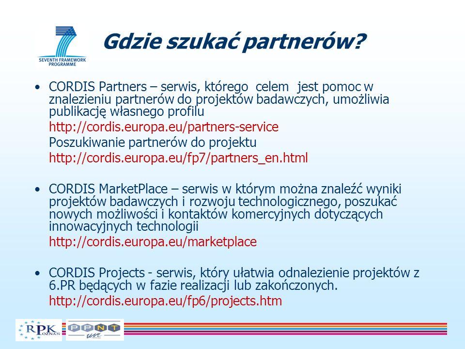CORDIS Partners – serwis, którego celem jest pomoc w znalezieniu partnerów do projektów badawczych, umożliwia publikację własnego profilu http://cordi
