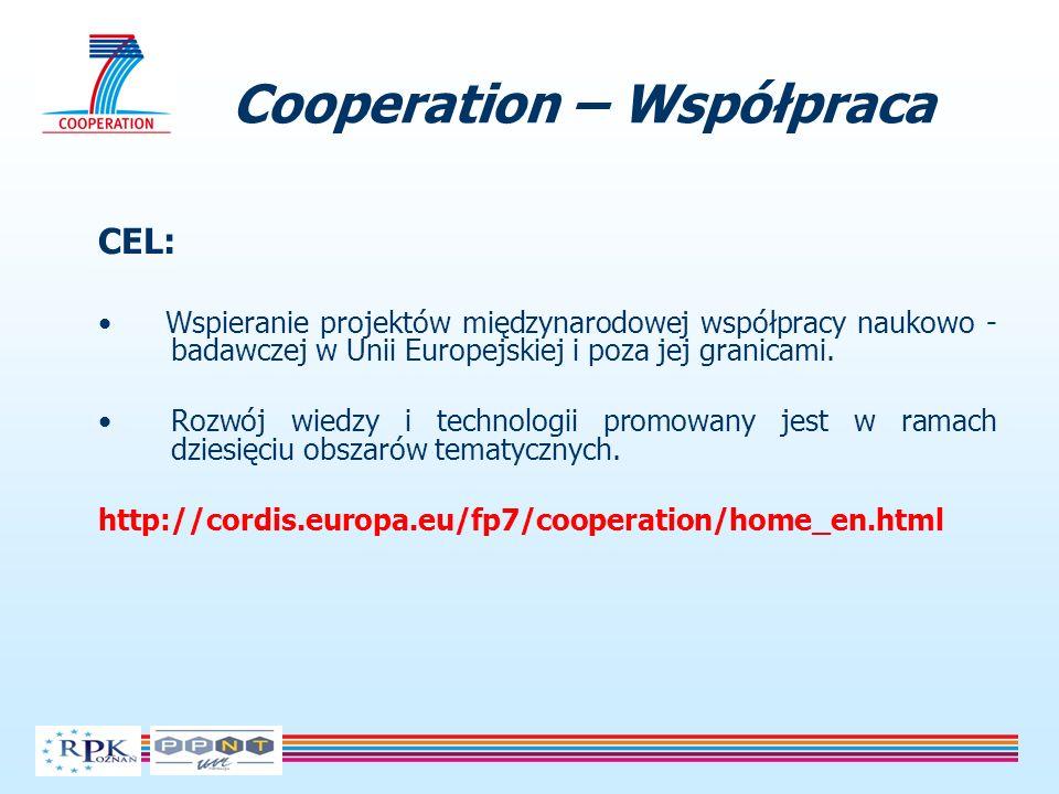 Cooperation – Współpraca CEL: Wspieranie projektów międzynarodowej współpracy naukowo - badawczej w Unii Europejskiej i poza jej granicami. Rozwój wie