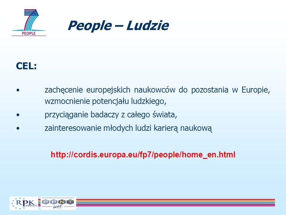 People – Ludzie CEL: zachęcenie europejskich naukowców do pozostania w Europie, wzmocnienie potencjału ludzkiego, przyciąganie badaczy z całego świata