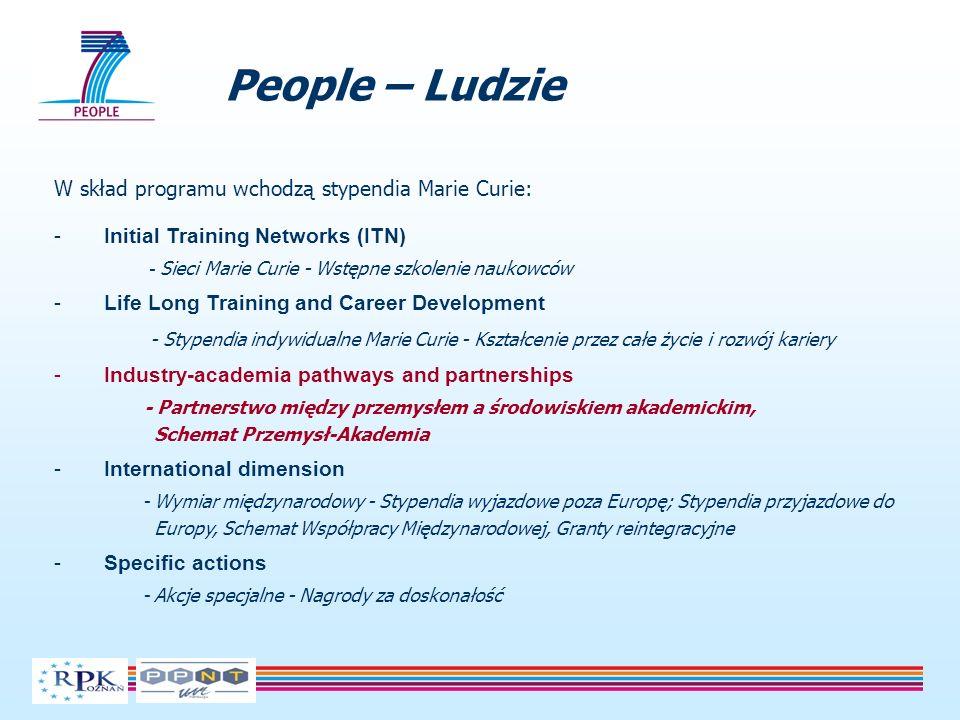 People – Ludzie W skład programu wchodzą stypendia Marie Curie: -Initial Training Networks (ITN) - Sieci Marie Curie - Wstępne szkolenie naukowców -Li