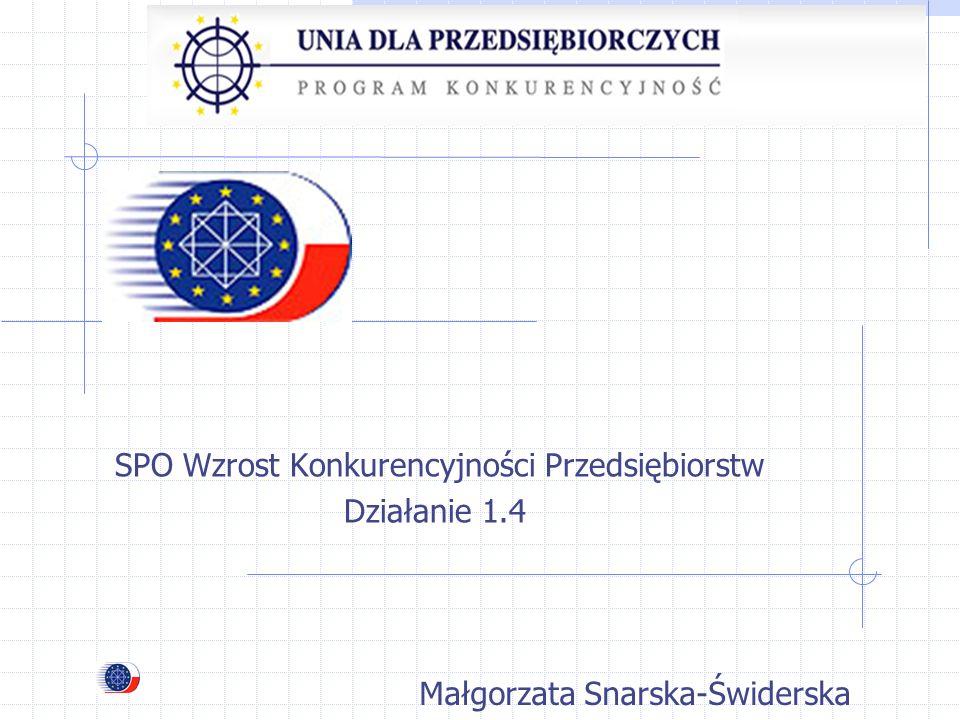 SPO Wzrost Konkurencyjności Przedsiębiorstw Działanie 1.4 Małgorzata Snarska-Świderska