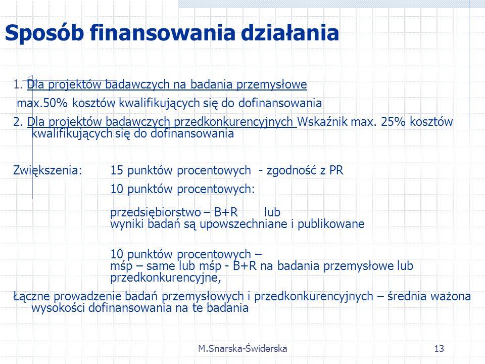 M.Snarska-Świderska13 Sposób finansowania działania 1.