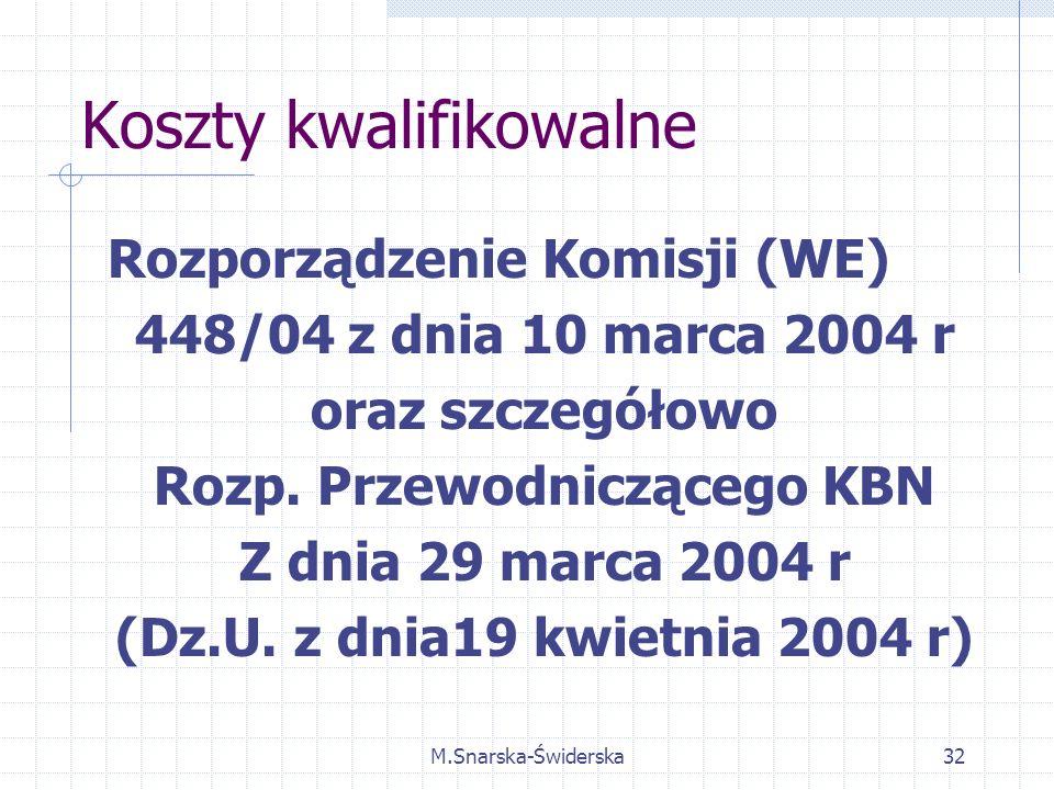 M.Snarska-Świderska32 Koszty kwalifikowalne Rozporządzenie Komisji (WE) 448/04 z dnia 10 marca 2004 r oraz szczegółowo Rozp.