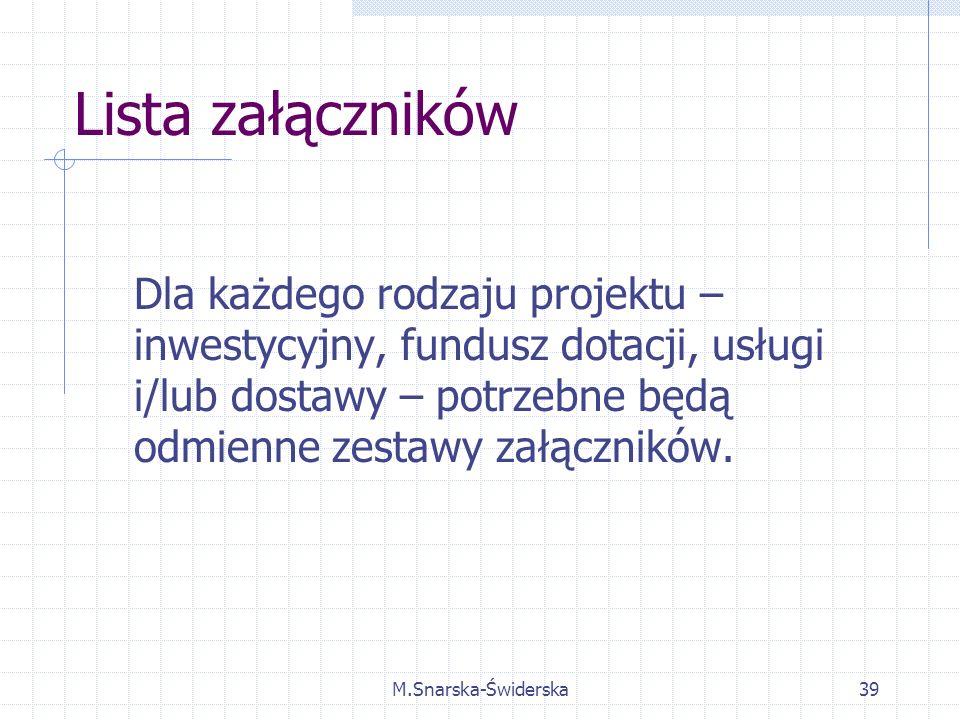 M.Snarska-Świderska39 Lista załączników Dla każdego rodzaju projektu – inwestycyjny, fundusz dotacji, usługi i/lub dostawy – potrzebne będą odmienne zestawy załączników.