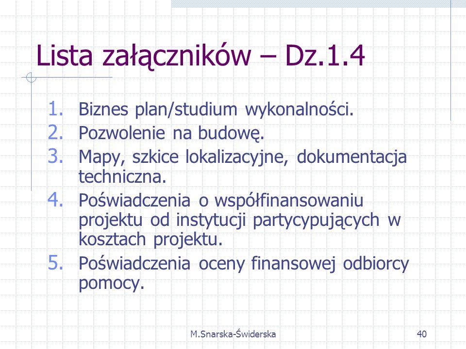 M.Snarska-Świderska40 Lista załączników – Dz.1.4 1.