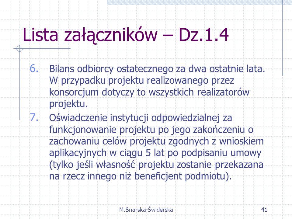 M.Snarska-Świderska41 Lista załączników – Dz.1.4 6.