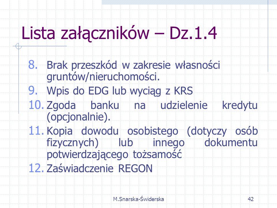 M.Snarska-Świderska42 Lista załączników – Dz.1.4 8.