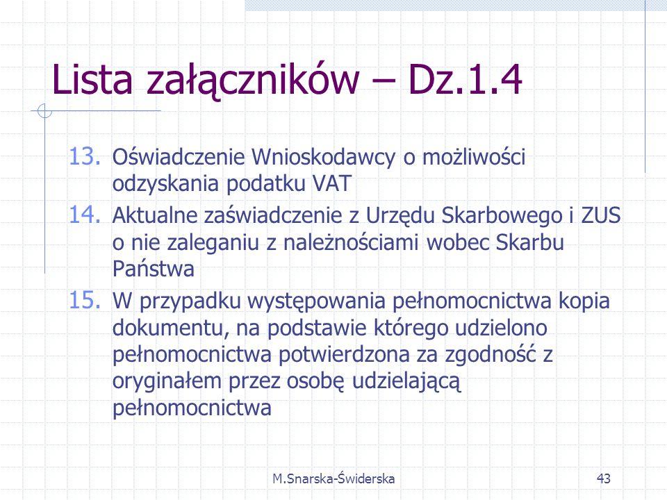 M.Snarska-Świderska43 Lista załączników – Dz.1.4 13.