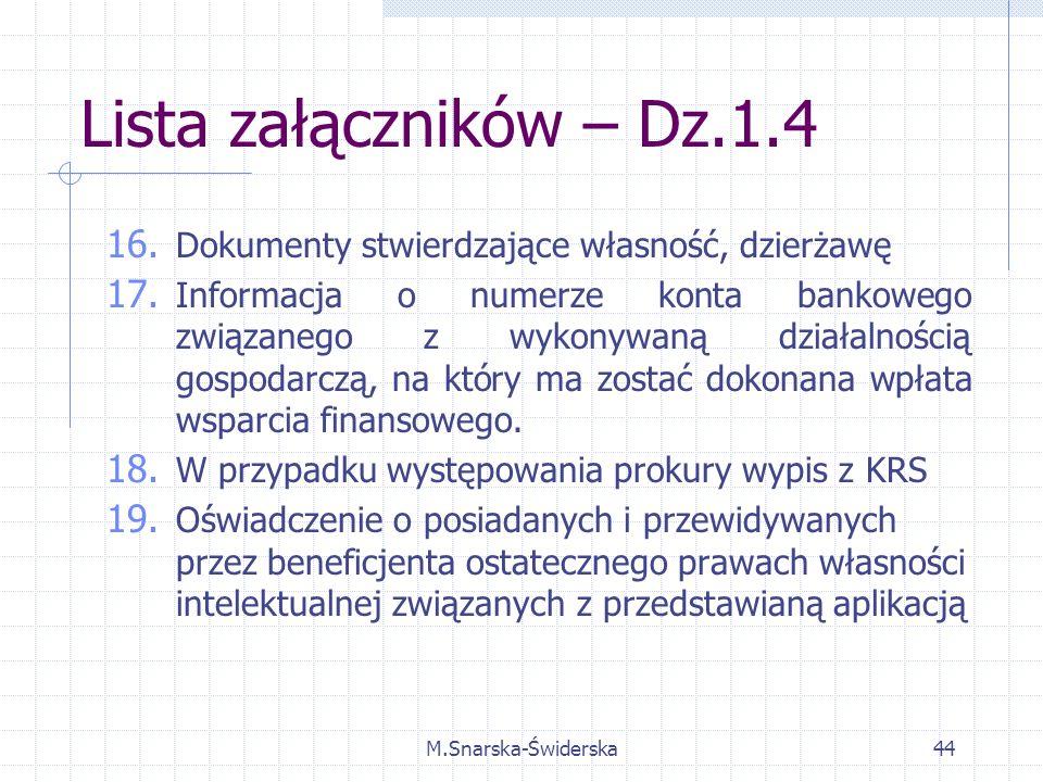 M.Snarska-Świderska44 Lista załączników – Dz.1.4 16.