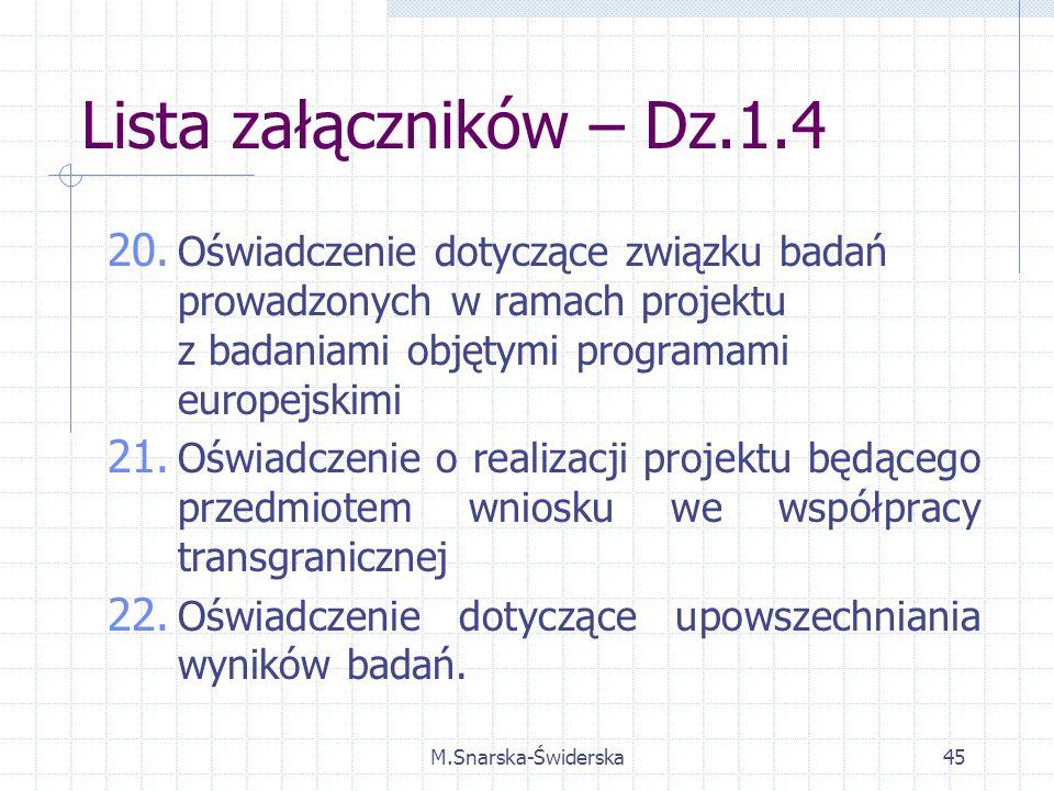 M.Snarska-Świderska45 Lista załączników – Dz.1.4 20.