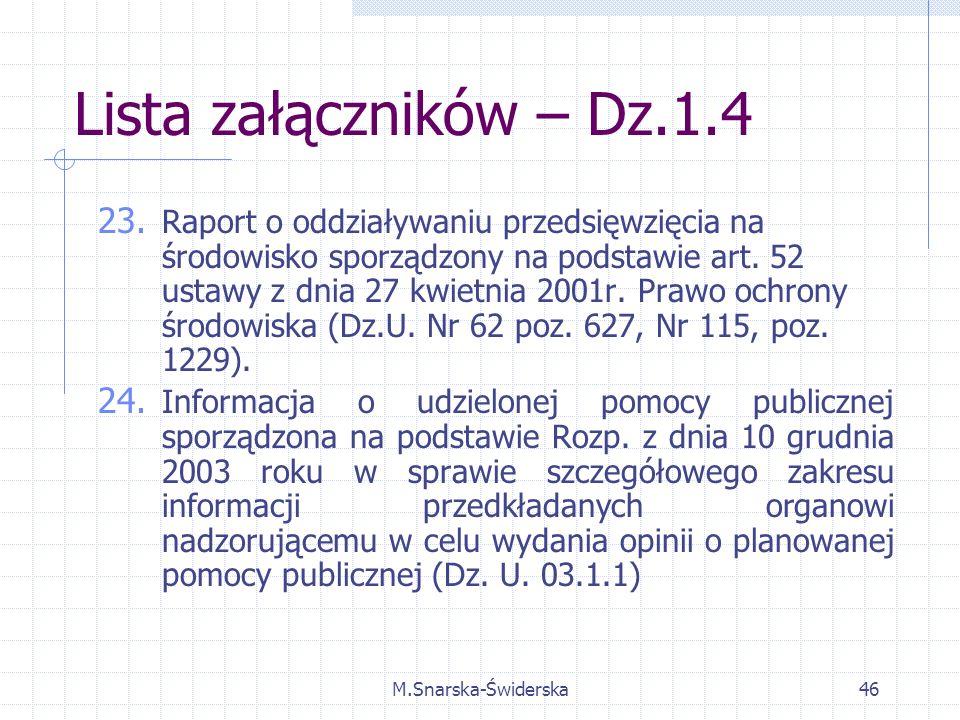 M.Snarska-Świderska46 Lista załączników – Dz.1.4 23.