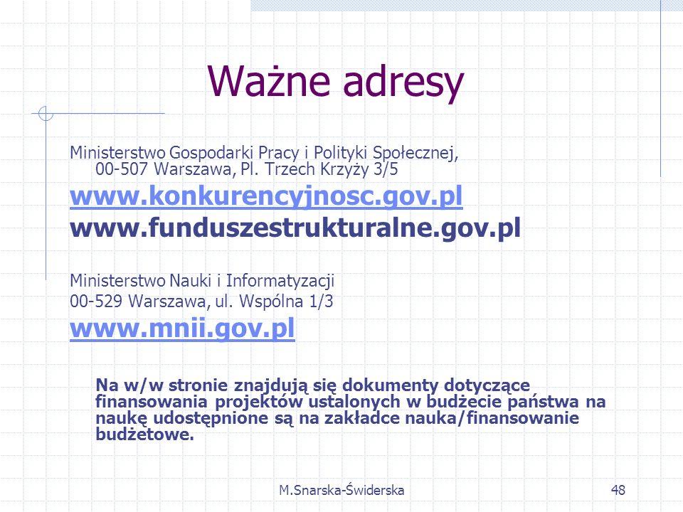 M.Snarska-Świderska48 Ważne adresy Ministerstwo Gospodarki Pracy i Polityki Społecznej, 00-507 Warszawa, Pl.