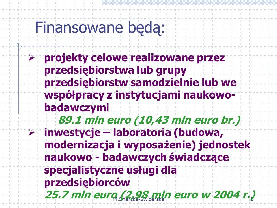 M.Snarska-Świderska5 projekty celowe realizowane przez przedsiębiorstwa lub grupy przedsiębiorstw samodzielnie lub we współpracy z instytucjami naukowo- badawczymi 89.1 mln euro (10,43 mln euro br.) inwestycje – laboratoria (budowa, modernizacja i wyposażenie) jednostek naukowo - badawczych świadczące specjalistyczne usługi dla przedsiębiorców 25.7 mln euro (2,98 mln euro w 2004 r.) Finansowane będą: