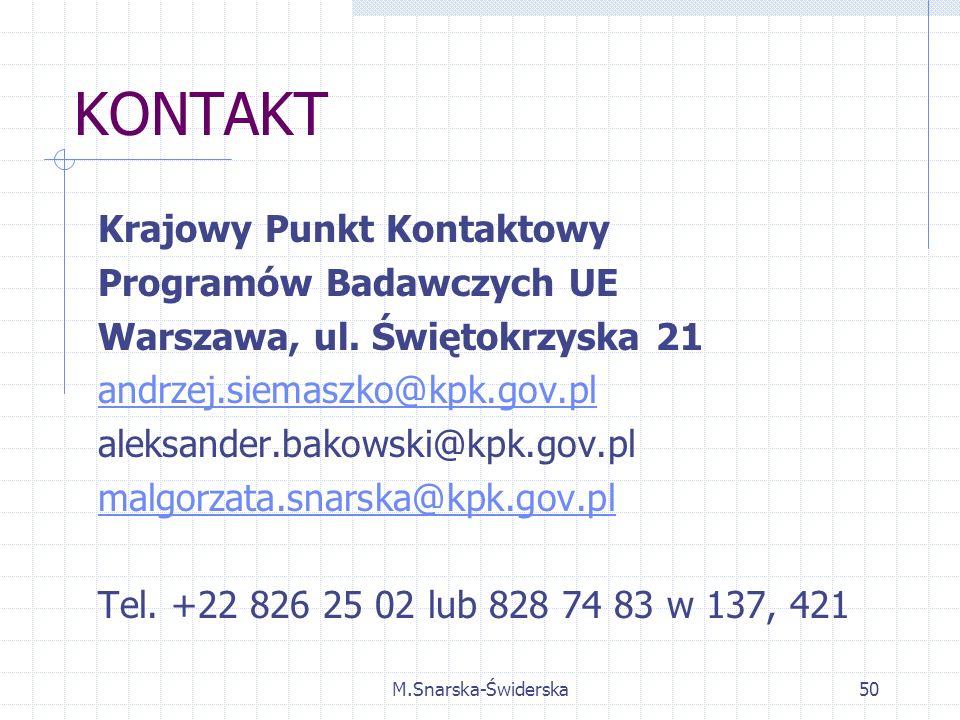 M.Snarska-Świderska50 KONTAKT Krajowy Punkt Kontaktowy Programów Badawczych UE Warszawa, ul.