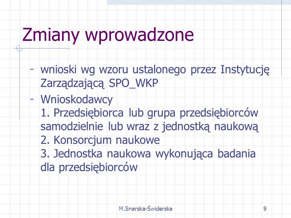 M.Snarska-Świderska9 Zmiany wprowadzone - wnioski wg wzoru ustalonego przez Instytucję Zarządzającą SPO_WKP - Wnioskodawcy 1.