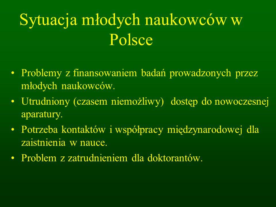 Sytuacja młodych naukowców w Polsce Problemy z finansowaniem badań prowadzonych przez młodych naukowców.