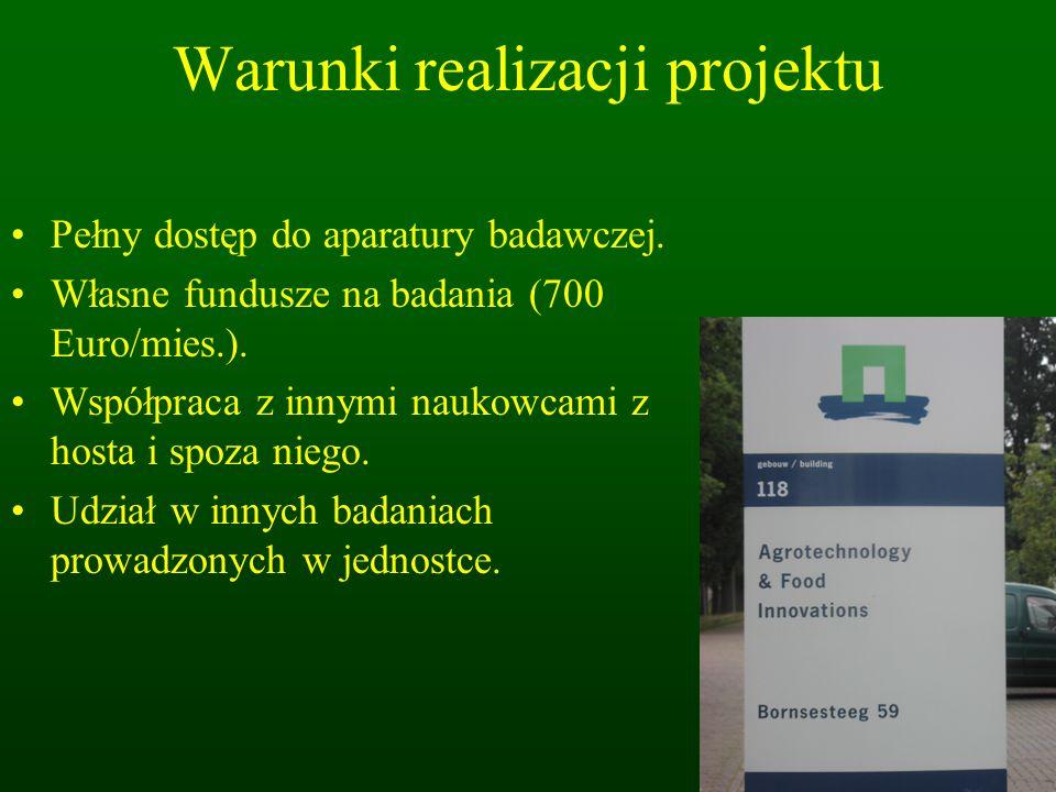Warunki realizacji projektu Pełny dostęp do aparatury badawczej.