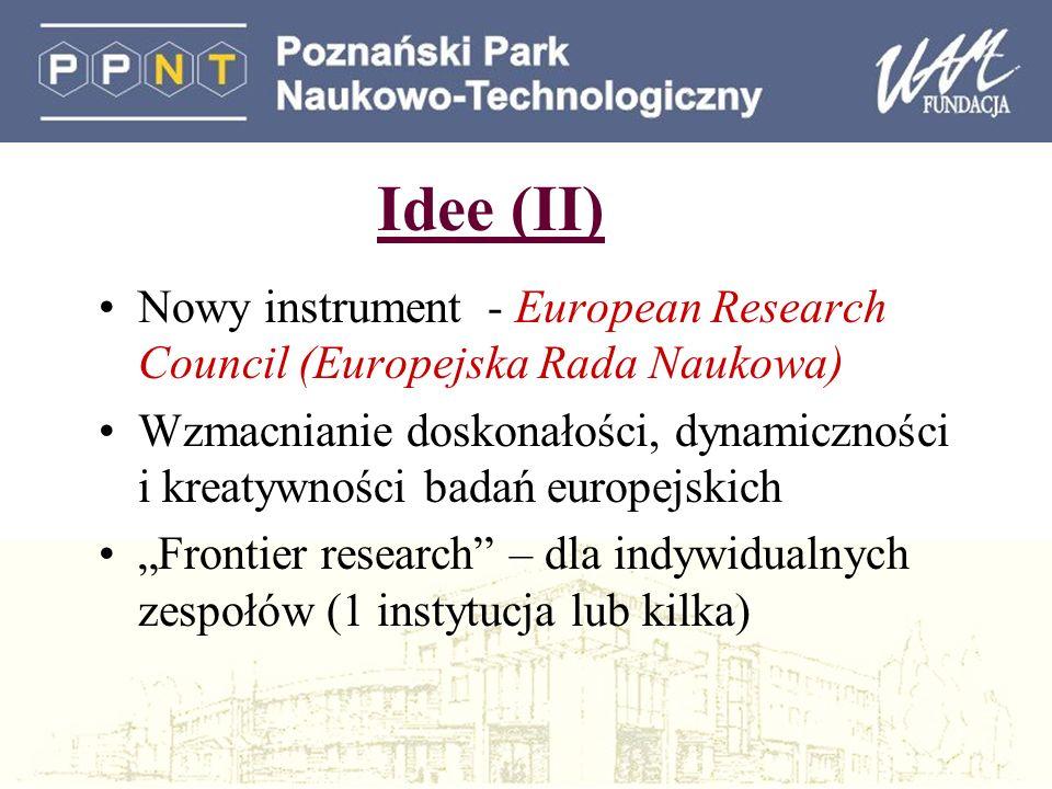 Idee (II) Nowy instrument - European Research Council (Europejska Rada Naukowa) Wzmacnianie doskonałości, dynamiczności i kreatywności badań europejskich Frontier research – dla indywidualnych zespołów (1 instytucja lub kilka)