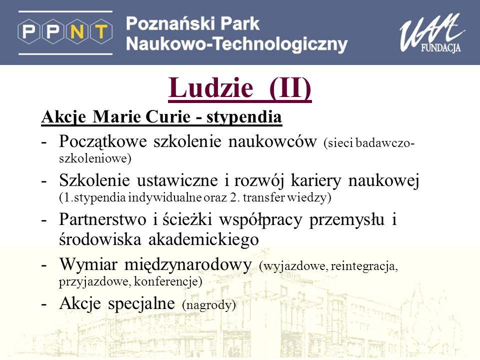 Ludzie (II) Akcje Marie Curie - stypendia -Początkowe szkolenie naukowców (sieci badawczo- szkoleniowe) -Szkolenie ustawiczne i rozwój kariery naukowej (1.stypendia indywidualne oraz 2.