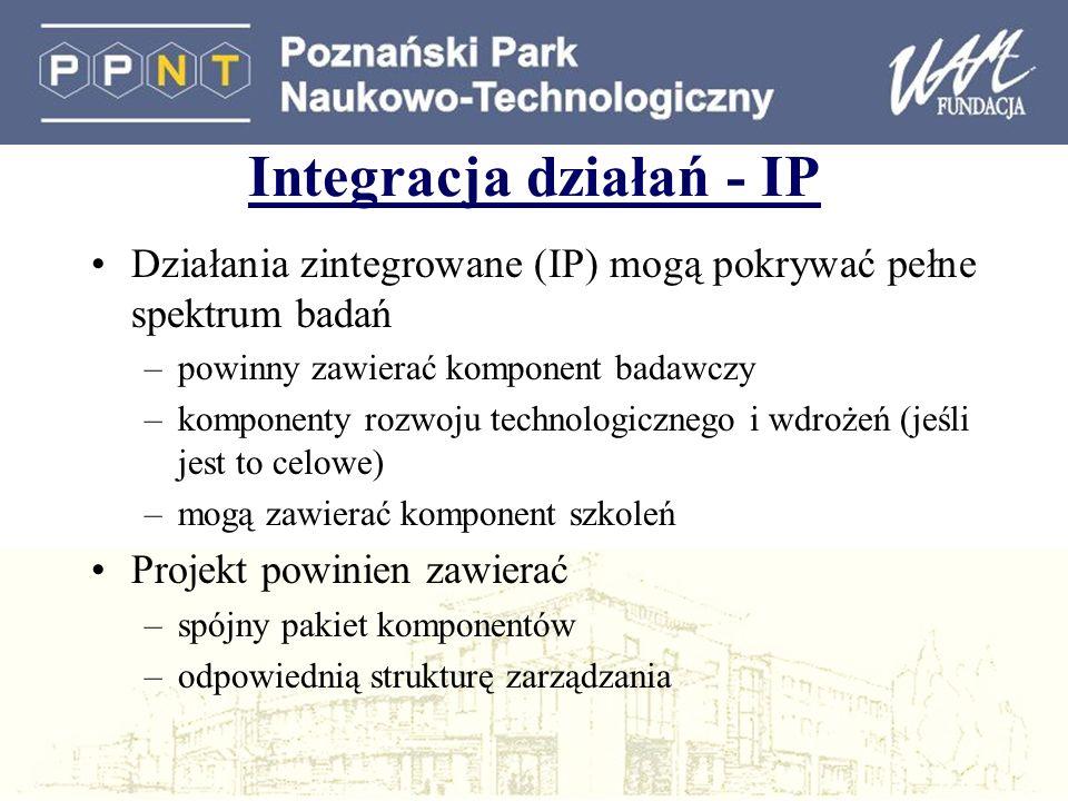 Integracja działań - IP Działania zintegrowane (IP) mogą pokrywać pełne spektrum badań –powinny zawierać komponent badawczy –komponenty rozwoju technologicznego i wdrożeń (jeśli jest to celowe) –mogą zawierać komponent szkoleń Projekt powinien zawierać –spójny pakiet komponentów –odpowiednią strukturę zarządzania