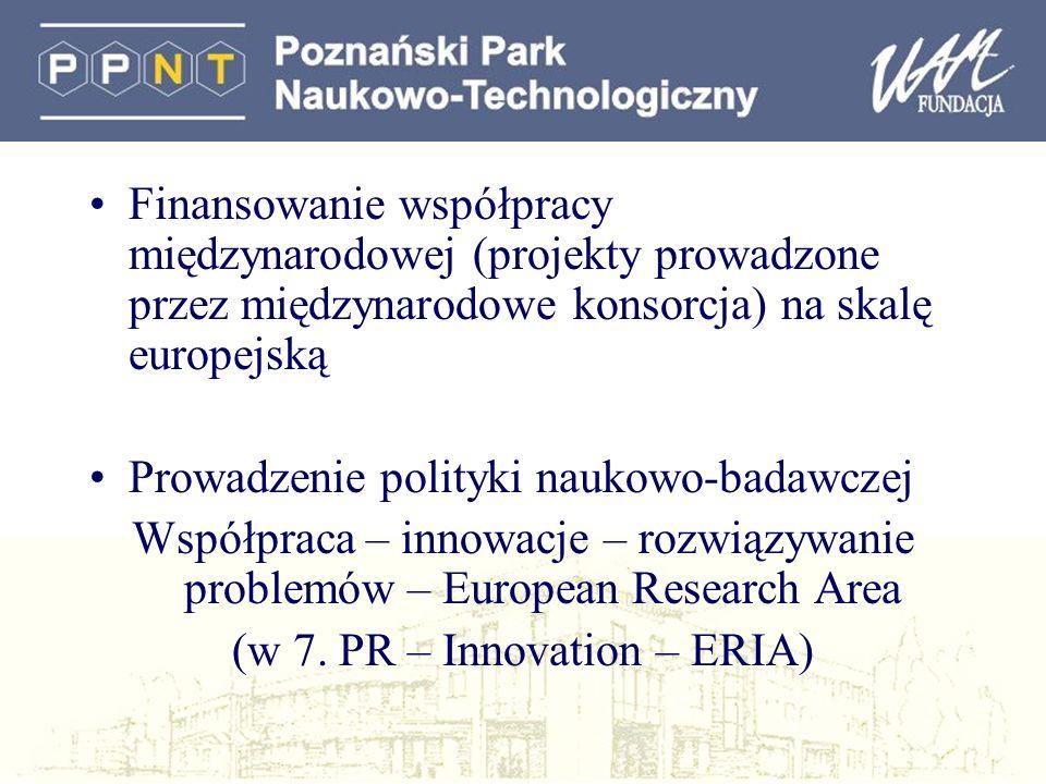 Finansowanie współpracy międzynarodowej (projekty prowadzone przez międzynarodowe konsorcja) na skalę europejską Prowadzenie polityki naukowo-badawczej Współpraca – innowacje – rozwiązywanie problemów – European Research Area (w 7.