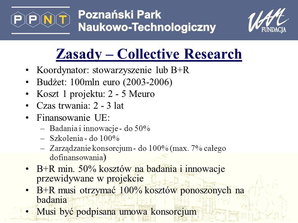 Zasady – Collective Research Koordynator: stowarzyszenie lub B+R Budżet: 100mln euro (2003-2006) Koszt 1 projektu: 2 - 5 Meuro Czas trwania: 2 - 3 lat Finansowanie UE: –Badania i innowacje - do 50% –Szkolenia - do 100% –Zarządzanie konsorcjum - do 100% (max.
