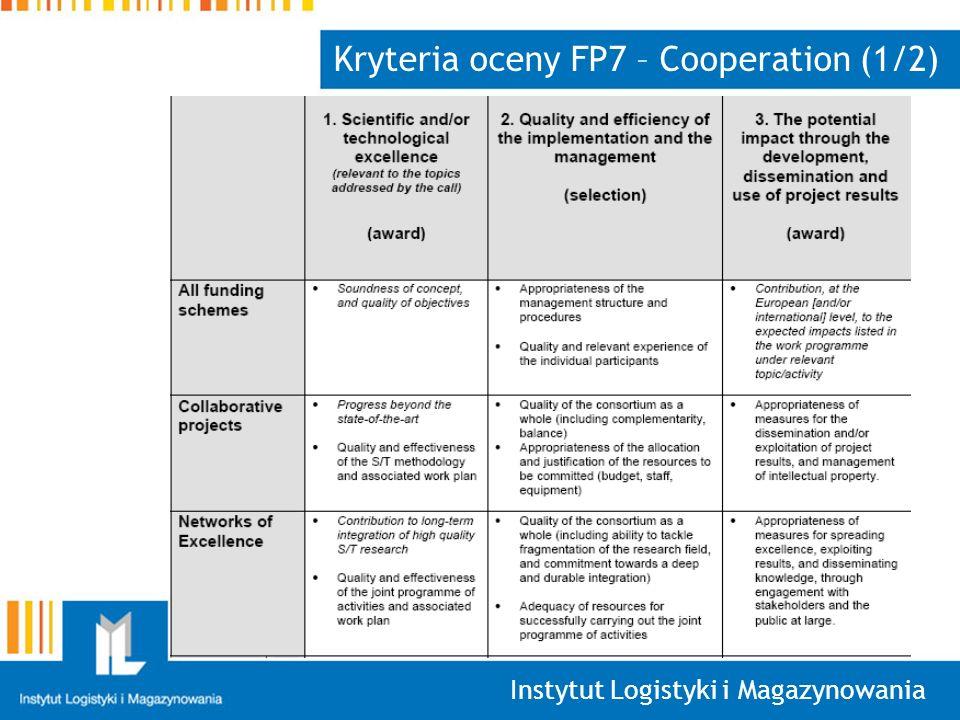 Instytut Logistyki i Magazynowania Kryteria oceny FP7 – Cooperation (1/2)