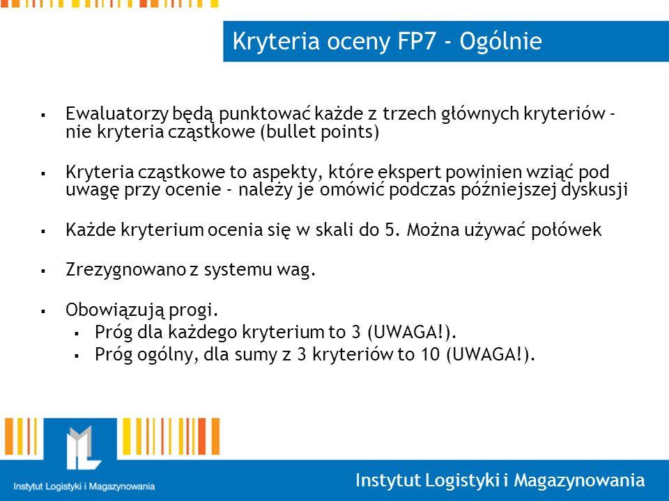 Instytut Logistyki i Magazynowania Kryteria oceny FP7 - Ogólnie Ewaluatorzy będą punktować każde z trzech głównych kryteriów - nie kryteria cząstkowe