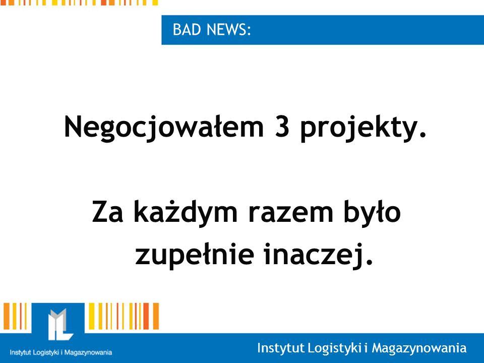 Instytut Logistyki i Magazynowania BAD NEWS: Negocjowałem 3 projekty.