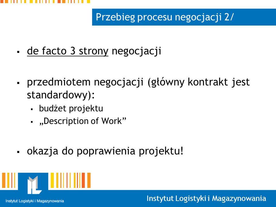 Instytut Logistyki i Magazynowania Przebieg procesu negocjacji 2/ de facto 3 strony negocjacji przedmiotem negocjacji (główny kontrakt jest standardowy): budżet projektu Description of Work okazja do poprawienia projektu!