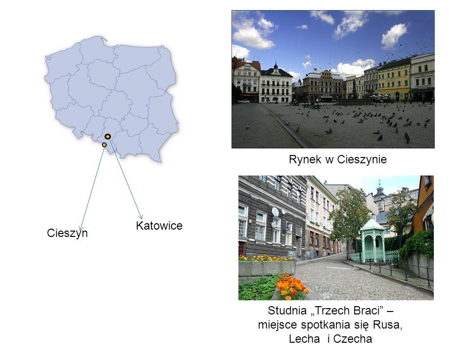 Cieszyn Katowice Rynek w Cieszynie Studnia Trzech Braci – miejsce spotkania się Rusa, Lecha i Czecha