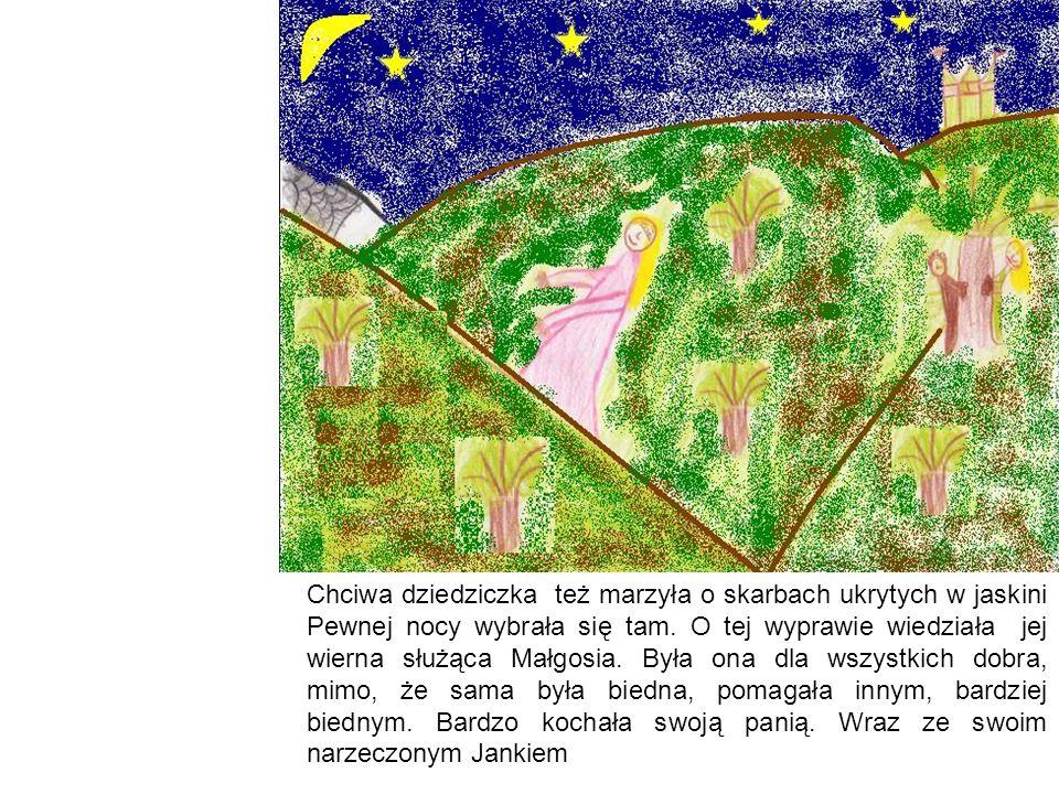Chciwa dziedziczka weszła do jaskini, a Małgosia i Janek ukryli się za drzewem i czekali na jej powrót