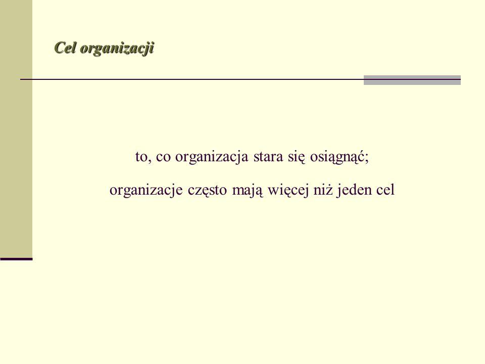 to, co organizacja stara się osiągnąć; organizacje często mają więcej niż jeden cel Cel organizacji