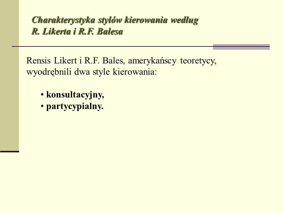 Charakterystyka stylów kierowania według R. Likerta i R.F. Balesa Rensis Likert i R.F. Bales, amerykańscy teoretycy, wyodrębnili dwa style kierowania: